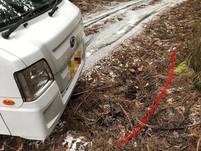 凍結路スリップ事故未遂状況図