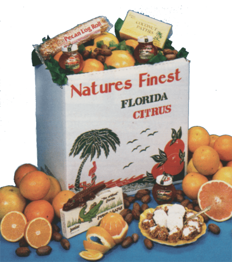 Florida oranges, tangerines, grapefruit, tropical jams, pecans, coconut patties, pecan log