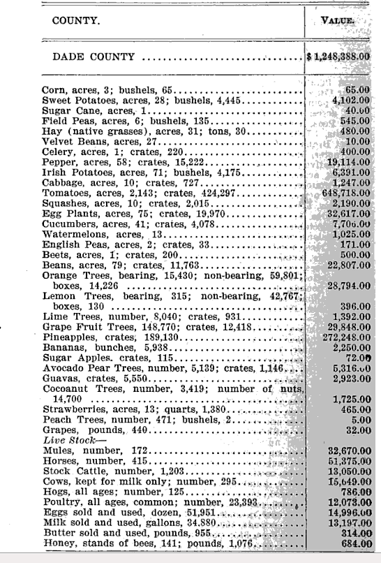 Crops grown in Dade County, 1905