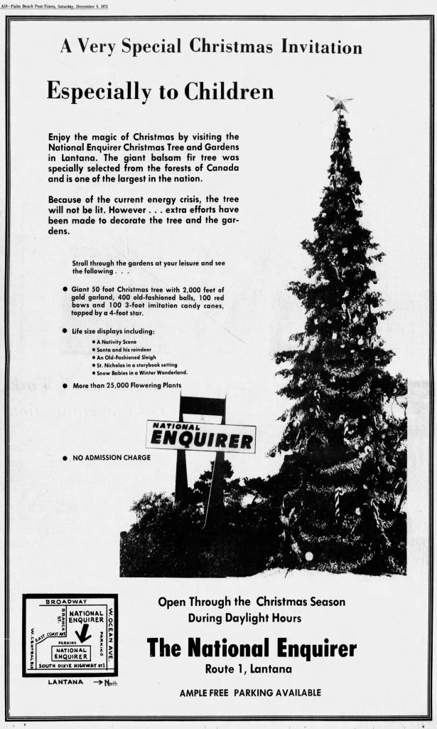 Dec. 8 1973 The Palm Beach Post. Most National Enquirer Christmastime ... - Holiday Magic: Remembering The National Enquirer Christmas Tree