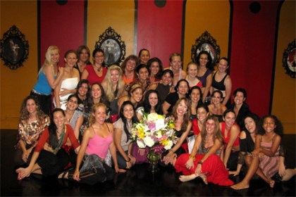 Bozenka with students in Miami at Bozenka's Bellydance Academy, Sept. 2008