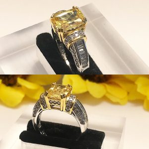 Emerald cut citrine stone sterling silver 925 engagement ring