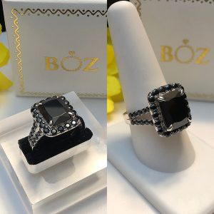 Zoe black stone sterling silver engagement ring