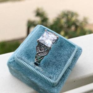 Vintage princess cut silver engagement ring