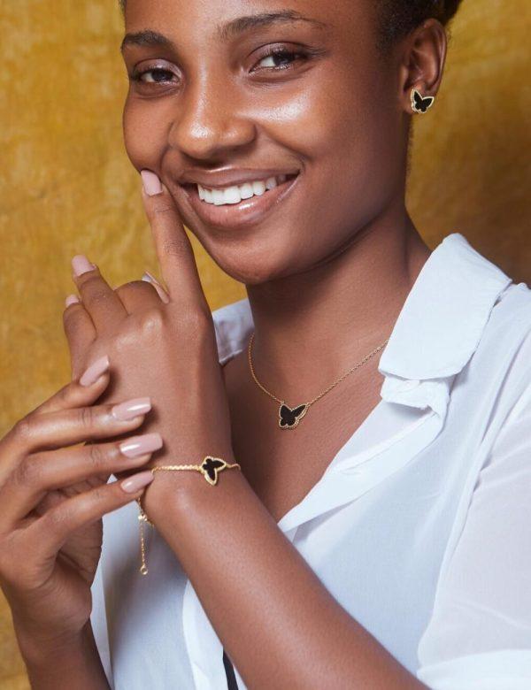 Black Butterfly Gold Plated Sterling Silver Necklace, Earrings & Bracelet