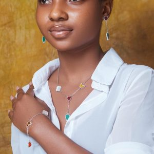 Stylish Multicolored Sterling Silver Necklace, Earrings & Bracelet Set