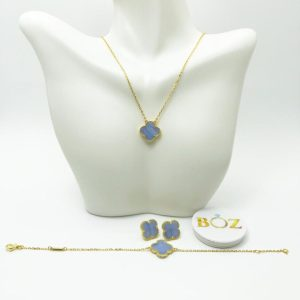 Lilac clover gold plated sterling silver necklace, earrings & bracelet set