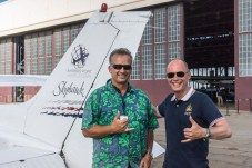 Hawaii, United States of America, July 6, 2015: Bertrand Piccard is on Maui's Hana coast to visit the grave of the famed aviator Charles Lindbergh. The First Round-the-World Solar Flight will take 500 flight hours and cover 35'000 km, taking five months to complete. Swiss founders and pilots, Bertrand Piccard and André Borschberg hope to demonstrate how pioneering spirit, innovation and clean technologies can change the world. The duo will take turns flying Solar Impulse 2, changing at each stop and will fly over the Arabian Sea, to India, to Myanmar, to China, across the Pacific Ocean, to the United States, over the Atlantic Ocean to Southern Europe or Northern Africa before finishing the journey by returning to the initial departure point. Landings will be made every few days to switch pilots and organize public events for governments, schools and universities.
