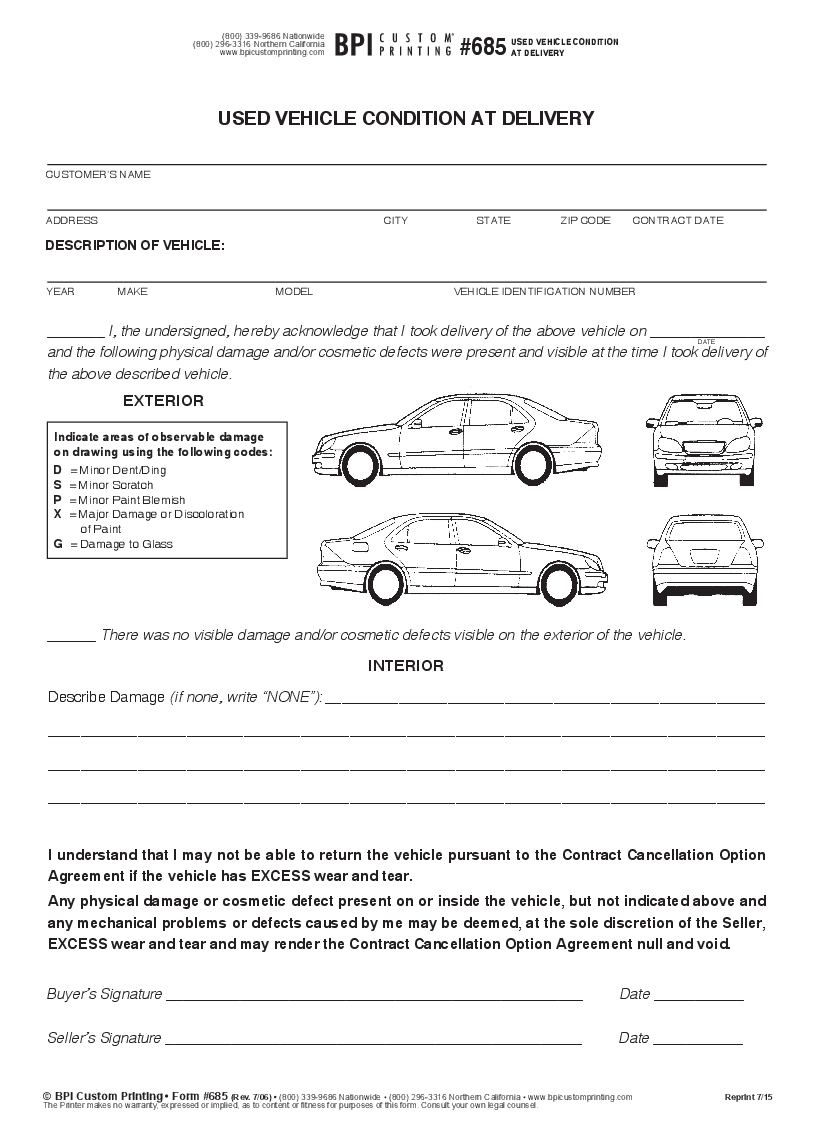 used vehicle condition at delivery 3-part