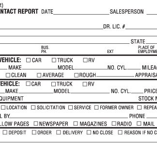 Loaner vehicle agreement bpi dealer supplies contact report 3 part platinumwayz