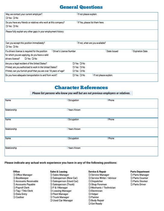 Application For Employment  Bpi Dealer Supplies