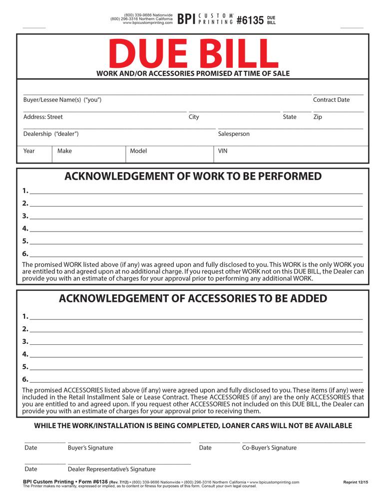 dealer bill of sale