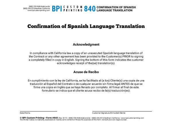 Confirmation Of Spanish Language Translation Bpi Dealer Supplies