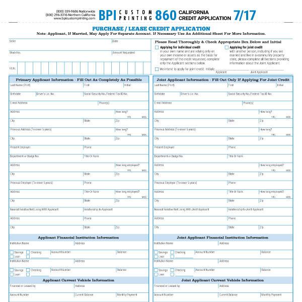 4 Part California Credit Application BPI Dealer Supplies