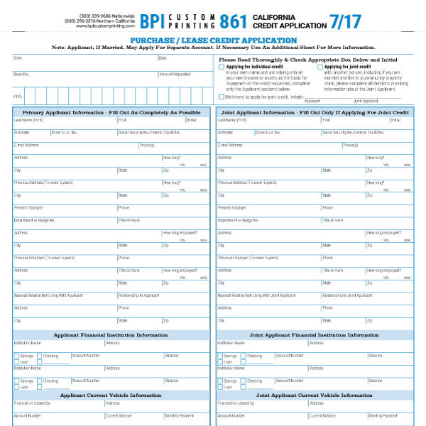 California Credit Application  Bpi Dealer Supplies