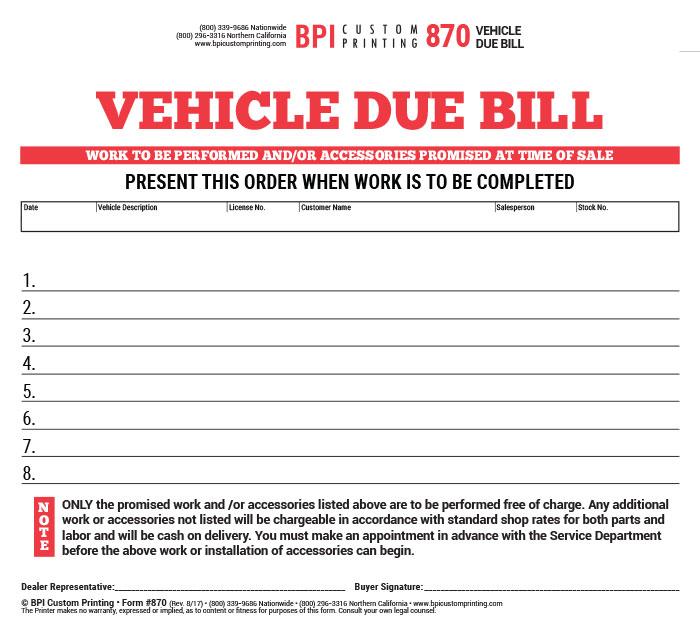 3 part vehicle due bill bpi dealer supplies