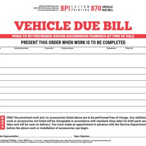 Vehicle Due Bill