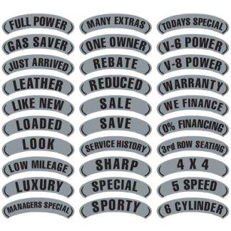 Black & Silver Arch Slogan Stickers