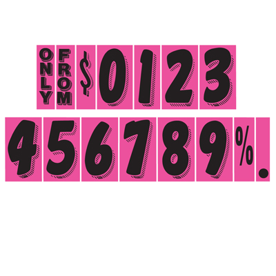Black and Hot Pink Windshield Number Stickers