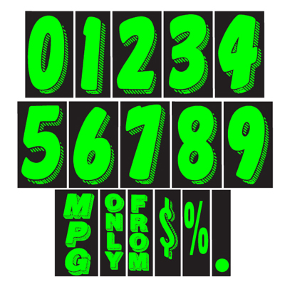 Chartreuse and Black Windshield Number Stickers