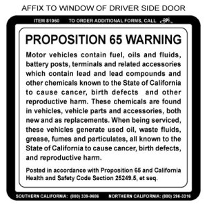Proposition 65 Window Sticker