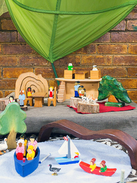 Wooden animals and boats at Batman Park Kindergarten.