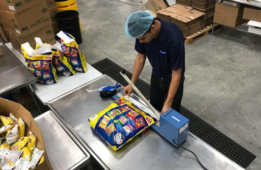 Sellado de bolsa con productos