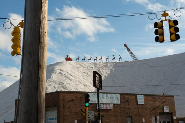 Santa's on top of a mountain of salt in Chelsea, MA.