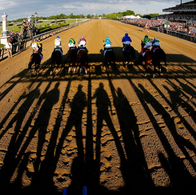 The horses leave the starting gate at The Belmont Stakes in New York.