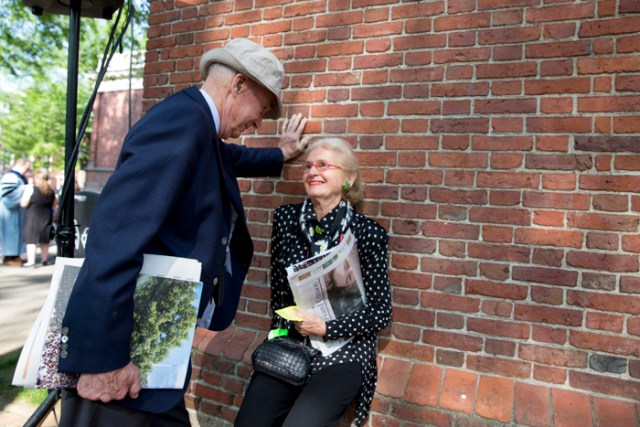 Richard Montague, '56 and Sonja Fischer celebrate 60 years at the 365th Commencement Exercises in Tercentenary Theatre at Harvard.