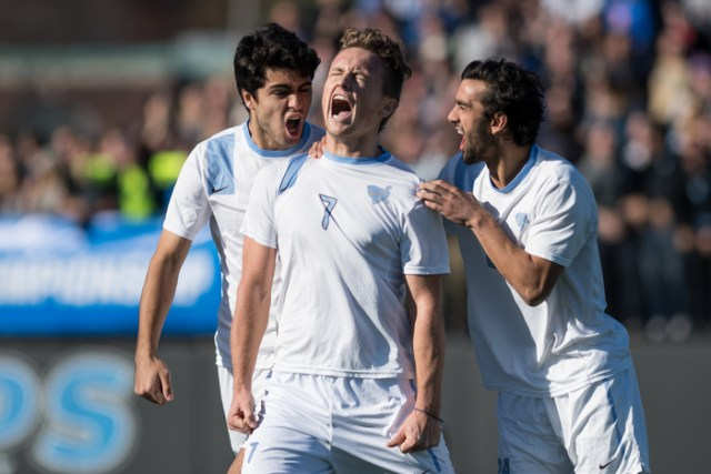 Tufts midfielder Dexter Eichhorst, '18, celebrates his goal in the third round of the NCAA DIII men's soccer tournament on Saturday, Nov. 19, 2016.