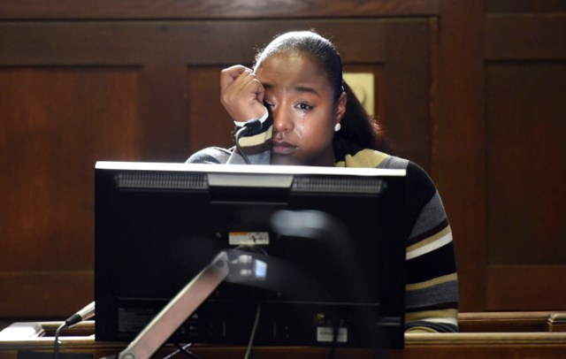 (Boston, MA 12/11/17) Talia Hayett, 27 friend of Dawnn Jaffier gets emotional on the witness stand as she recalls the day Dawn was shot and how she tried to help her. The trial of Keith Williams and Wesson Colas, both charged with first-degree murder in connection with the Aug 23, 2014, homicide of Dawnn Jaffier 26 on Blue Hill Ave. ADA Mark Lee and defense Attorneys, John Galvin and Peter Marano give their opening statements and witness's take the stand.  December 11, 2017.