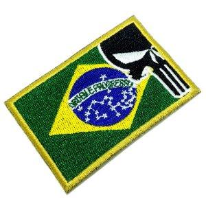 Bandeira Brasil Justiceiro Patch Bordado Para Uniforme Boné