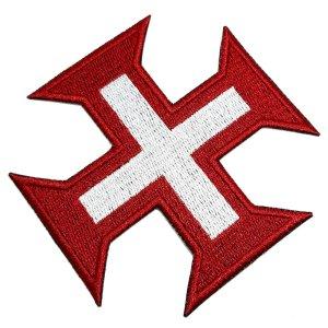 Cruz Ordem Cavaleiros de Cristo Patch Bordado Termo Adesivo