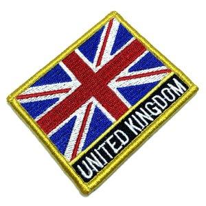 Bandeira Reino Unido Patch Bordada Fecho de Contato Gancho