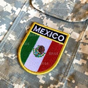 Bandeira México Patch Bordada Fecho Contato Gancho
