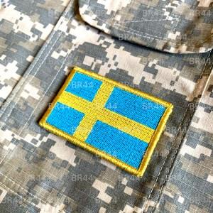 Bandeira Suécia Patch Bordada Fecho de Contato Gancho
