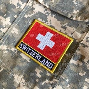 Bandeira Suíça Patch Bordada Fecho de Contato Gancho