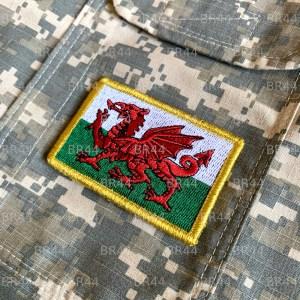 Bandeira País de Gales Patch Bordada Fecho de Contato Gancho