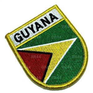 BP0224EV 01 Bandeira Guiana Patch Bordada Fecho Contato