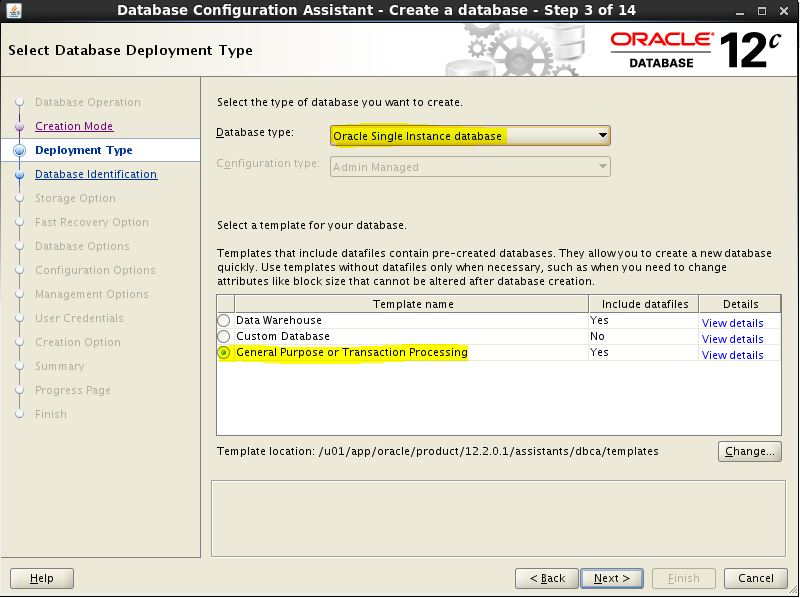 Create Non-CDB Oracle Database 12c on Linux using DBCA (GUI