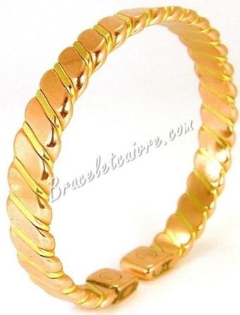 Bracelet en cuivre avec bande en laiton