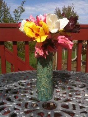 Kiwi Vase with Tulips