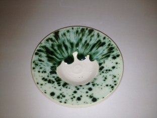 Pistachio at Cone 5 on Porcelain, top half 2 coats, bottom 1 coat