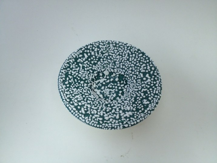 White Pebble on Green Underglaze