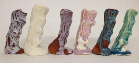 Magic Flow Glazes (White, Rose & Turquoise) on Earthenware White & Red