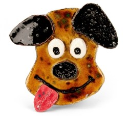 Lee Mosley created this dog's face and glazed with Crystaltex CTL-35 Nutmeg and other AMACO glazes