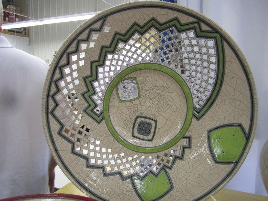 Raku Fired Platter with Lime Green and Pierced details