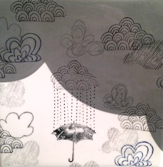 """you are my own personal raincloud, wall tile detail, 2x8x8"""" 2013"""