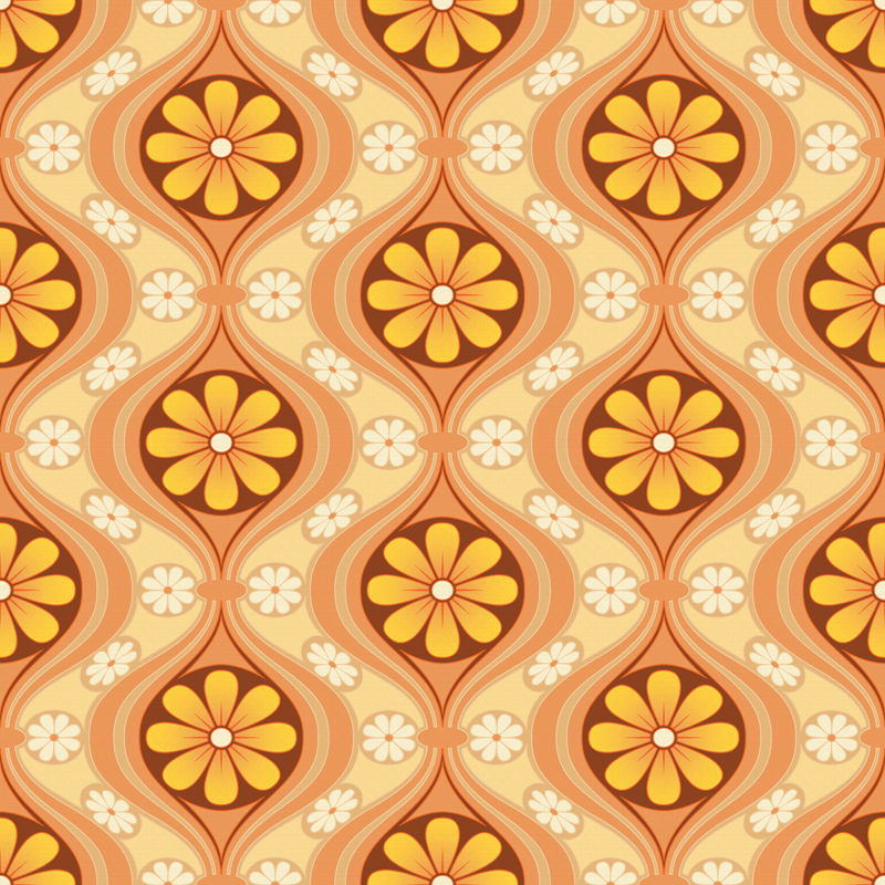 Vintage 1960s Daisy Wallpaper